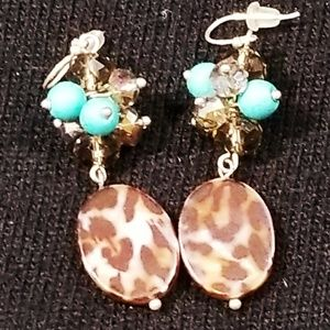 Animal print and turquoise dangle beaded earrings